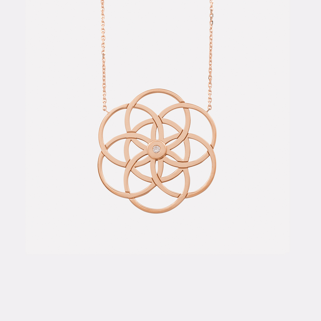 Collier Soleil or rose